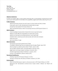 Dance Resume Templates Dancer Resume Template 6 Free Word Pdf Documents  Download Printable