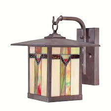 Arts And Crafts Wall Lights Stained Glass And Bronze Hanging Outdoor Wall Lamp Tiffany