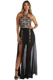 Kelsey Black Bonded Lace Chiffon Dress