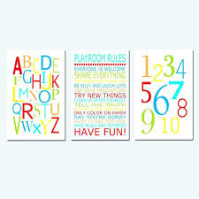 wall art for playroom rules alphabet numbers set kids trio of three nursery prints choose your