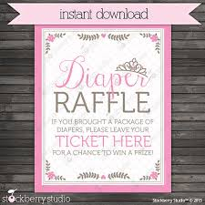 raffle sign princess baby shower diaper raffle ticket sign instant download