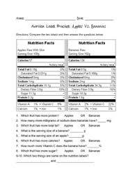 nutrition label practice 3 fruit