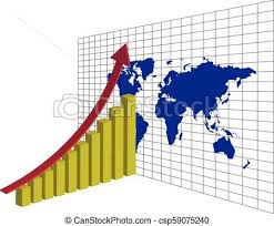 Stock Chart Up Global Trading 3d
