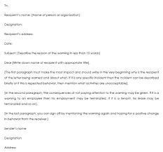 How To Write A Warning Letter To An Employee Warning Letter Templates 20 Sample Formats For Hr Warnings