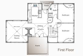 Post and Beam Floor Plan   Bedroom Guest House   Small Home PlanPost and Beam Guest Cottage First Floor Plan