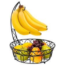 best choice s kitchen countertop 2 tier metal fruit basket stand w detachable banana