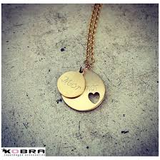 id tag heart pendant in 14 carat gold plated small tag including engraving
