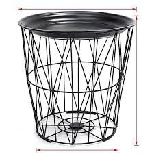 black geometric iron metal wire round tray top storage side table basket