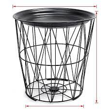 black geometric iron metal wire round tray top storage side table basket