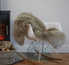 soft taupe genuine large sheepskin rug thick luxury wool full pelt 100 x 60cm
