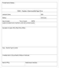 Injury Incident Report Template Unusual Incident Report Form