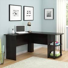 fch office l shaped computer desk corner laptop pc table bookshelves dark brown