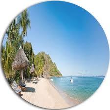 designart mt9444 c23 beach with chairs and umbrellas seashore photo round metal wall art 23 x 23 blue on beach umbrella metal wall art with souq designart mt9444 c23 beach with chairs and umbrellas