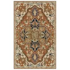 phoenix hand hooked wool area rug rust and stone traditional in