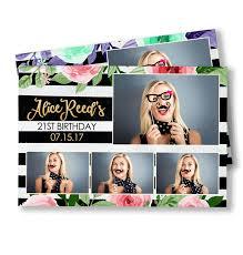 Postcard Collage Template Floral Stripes Postcard