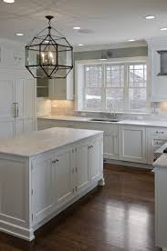 cabinet handles for dark wood. Dark Floors,white Cabinets, White Granite, Silver Knobs And Gray Paint Wall. Beautiful Kitchen Window. I Don\u0027t Love The Pendant Light Though #whitekitchen # Cabinet Handles For Wood A