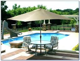 full size of hampton bay 11 ft solar offset patio umbrella in cafe blue with lights