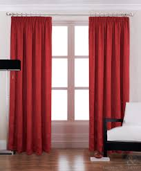 Lined Bedroom Curtains Modern Red Luxury Pencil Pleat Lined Curtain Curtains Curtains Uk