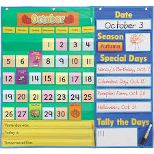 Calendar Pocket Chart Set Todays Calendar Pocket Chart Walmart Com