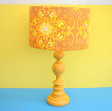 Vintage 1960s Yellow Table Lamp Flower Power Lamp Shade Yellow Orange