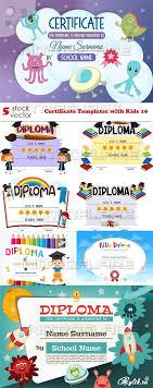 Дипломы и сертификаты векторные шаблоны Сертификаты и дипломы с детьми векторные фоны для дизайна