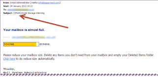 full mailbox. Screenshot Of Spam Or Phishing Email Warning Full Mailbox