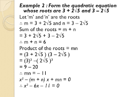 quadratic equation whose roots are 2 and 3 33 example