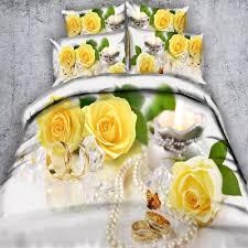 yellow roses fl bedding sets white 3d duvet cover girls 3 500tc full queen super king wedding beddings pillow case bedding for pink duvet