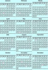 Perpetual Calendar Day Of Week Calendar Chart On Various