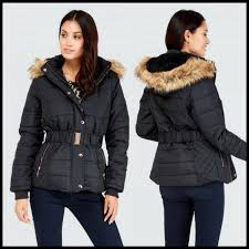 go for extreme warmth in this belted fur trim padded jacket in black with quilted detailing and faux fur hood