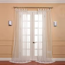 pair 2 panels solid off white voile poly sheer curtain