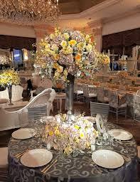 fl arrangement at wedding guest table