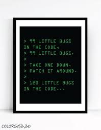 nerdy office decor. 99 little bugs in the code art for geeks digital download office gallery wall nerdy decor