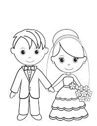 Disegni Da Colorare Sposo E Sposa Stampabile Gratuito Per Bambini