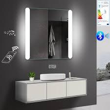 Badspiegel Led Mit Bluetooth Lautsprecher 80x81cm Badezimmer Spiegel
