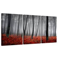 modern beautiful autumn nature scenery painting wall art black and design ideas of red wall art