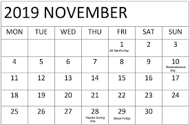 November November Calendar November 2019 Google Calendar With Holidays Free Latest