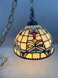 Vintage Dale Tiffany Slag Glass Hanging Lamp