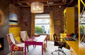 eclectic design home office. Lively Eclectic Home Office With Brick Walls. Image Source: Interior Design 2014 O