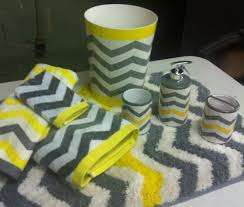 yellow and grey bathroom rug with chevron neon gray white 8 pc set bath towel
