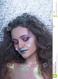 young attractive in bright makeup winter portrait attractive in bright makeup