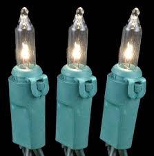 Christmas Mini Light Sets 10 Light Green Wire Clear Bulb
