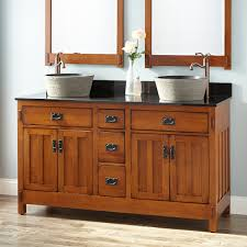 Double Sink Oak Vanity Signature Hardware - Oak bathroom vanity cabinets