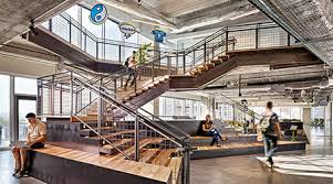 Office design companies office Law Firm In Atlassians Austin Office Monumental Stair With Tiered Platform Auditorium Creates Stage For Chance Conversations Amenity Spaces Surround The Stair Officespace Software Tech Companies Set The Pace For Office Design Facilities