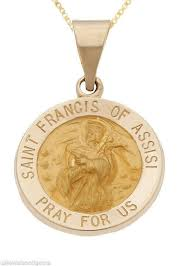 details about 14k yellow gold saint st francis of assisi religious medal pendant necklace
