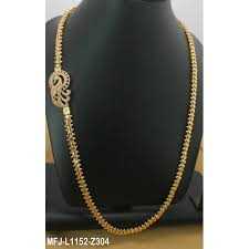 24 inches gold plated finish chain with cz ruby stones peacock design side pendant