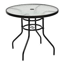 Round outdoor metal table Dining Tables Tangkula 32quot Outdoor Patio Table Round Steel Frame Tempered Glass Top Commercial Party Event Furniture Amazoncom Amazoncom Tangkula 32
