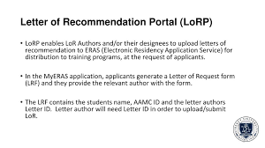 How To Ask For Letter Of Recommendation Residency Eras Letter Of Recommendation Lor And Lor Author Support Ppt