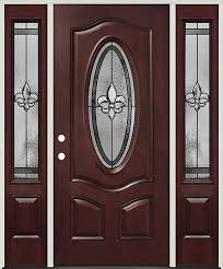 fleur de lis 3 4 oval pre finished mahogany fiberglass prehung door