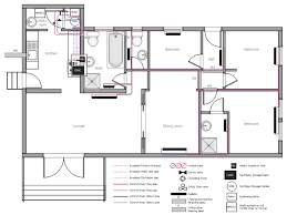 in this home there are two bathrooms bathroom 1 is right next to the water heater with maybe 10 feet of piping the pink lines between the shower head